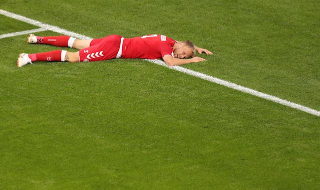 Soccer Football - World Cup - Group C - Peru vs Denmark - Mordovia Arena, Saransk, Russia - June 16, 2018 Denmark's Nicolai Jorgensen lies on the pitch REUTERS/Ricardo Moraes TPX IMAGES OF THE DAY