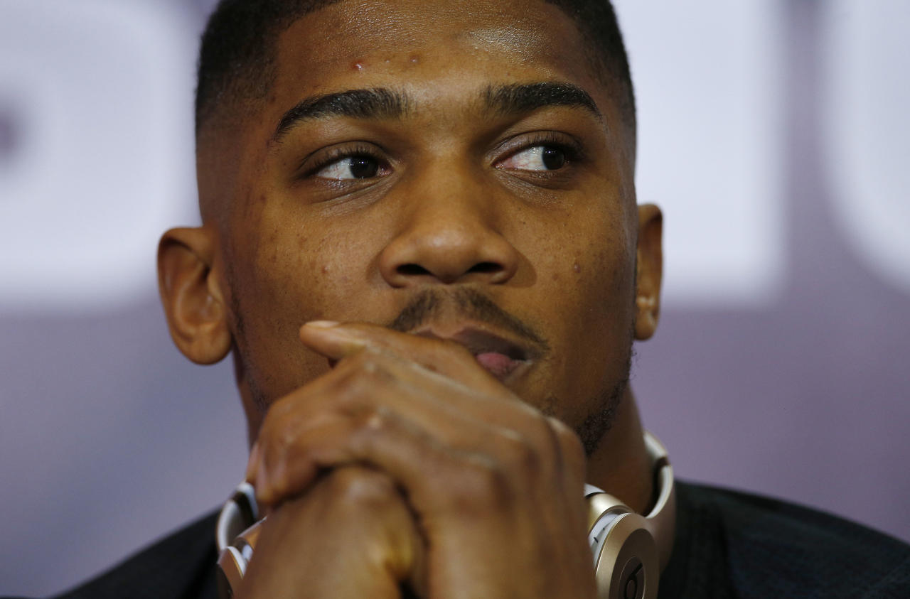 Britain Boxing - Anthony Joshua & Wladimir Klitschko Press Conference - Sky Central - 27/4/17 Anthony Joshua during the press conference Action Images via Reuters / Andrew Couldridge Livepic EDITORIAL USE ONLY.