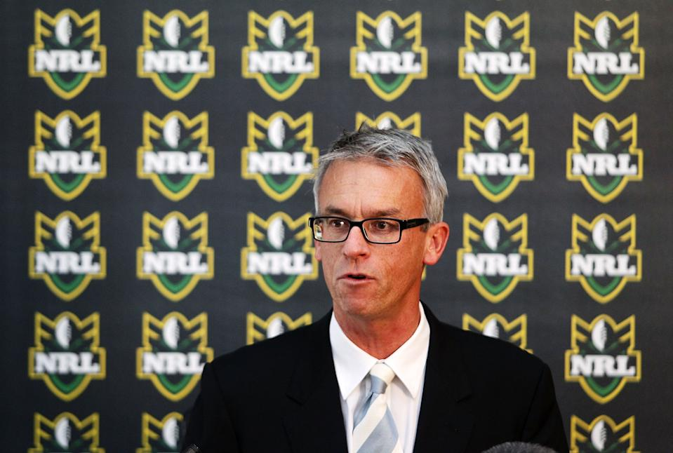 Former NRL CEO David Gallop speaks during a press conference at Fox Studios on July 15, 2010 in Sydney, Australia.