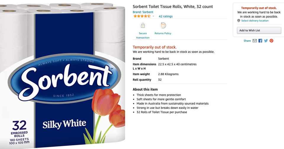Amazon toilet paper out of stock