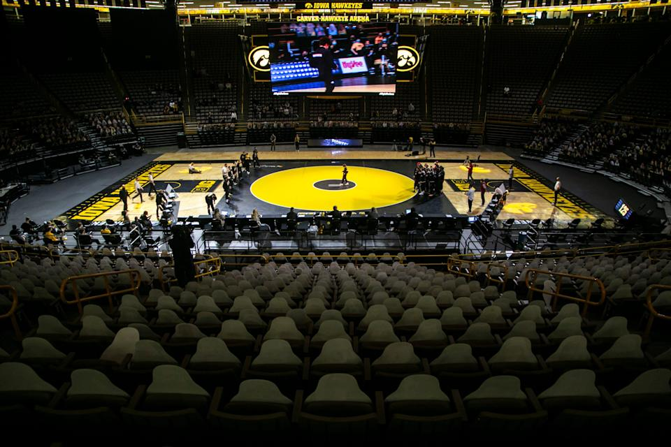 A general view as introductions take place during a NCAA Big Ten Conference wrestling dual between the Iowa Hawkeyes and the Nebraska Cornhuskers, Friday, Jan. 15, 2021, at Carver-Hawkeye Arena in Iowa City, Iowa.