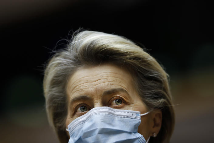European Commission President Ursula Von Der Leyen listens to speeches during a plenary session on the inauguration of the new President of the United States and the current political situation, at the European Parliament in Brussels, Wednesday, Jan. 20, 2021. (AP Photo/Francisco Seco, Pool)