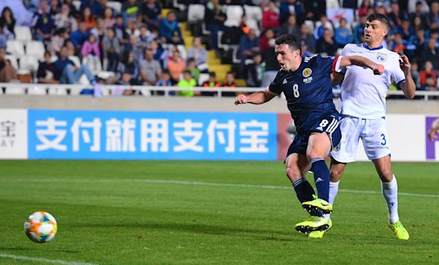 John McGinn strikes to make it 2-1 to Scotland. (Credit: Getty Images)