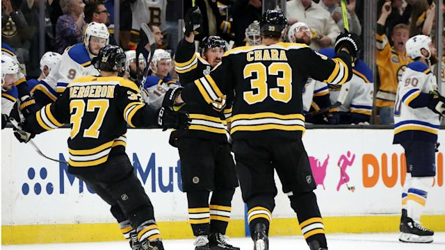 the Boston Bruins scored four unanswered goals to see off the St Louis Blues in the series opener at TD Garden on Monday.