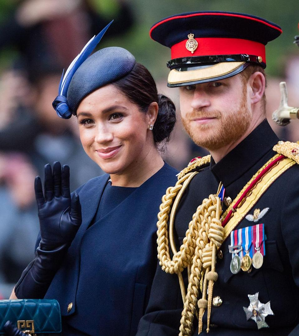 <p>The Duke and Duchess of Sussex ride in a carriage together at the annual Trooping the Colour parade. </p>