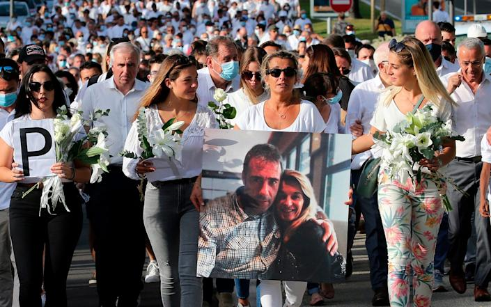 Veronique Monguillot, wife of Philippe Monguillot, a bus driver who was attacked in Bayonne, during the white march - AP Photo/Bob Edme