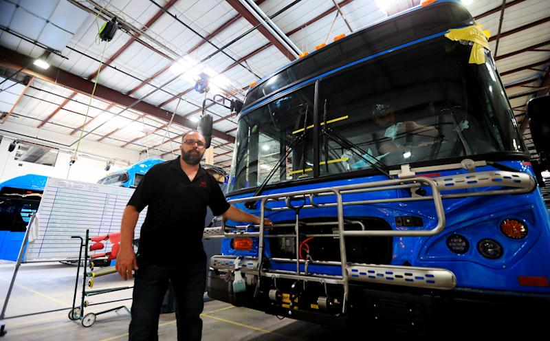 LANCASTER, May 7, 2018 -- Peter Balin, a test-line specialist lead, works at an electric bus factory of China's BYD in Lancaster, the United States, May 1, 2018. BYD, one of the largest electric bus manufacturers in the U.S., set up the Lancaster factory in May 2013, employing some 800 local people. (Xinhua/Li Ying via Getty Images)