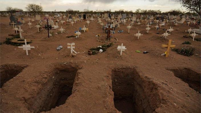 A tomb just dug in the El Centinella Cemetery is depicted during the coronavirus disease (COVID-19) epidemic in Mexicali, Mexico, on March 23, 2021.