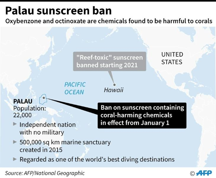 """Map locating Palau. The tiny Pacific island nation's pioneering ban on """"reef-toxic"""" sunscreens took effect on New Year's Day (AFP Photo/Gal ROMA)"""