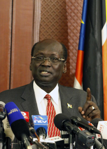 South Sudan Minister of Information, Barnaba Marial Benjamin speaks to journalists in Nairobi, Kenya, Monday, April. 2, 2012. The government of South Sudan says it is not satisfied with the mediation role of the African Union in resolving its disputes with Sudan. South Sudan Government spokesman Barnaba said Monday that South Sudan is disappointed by a report by the AU to the U.N. Security Council that he said portrayed South Sudan as the aggressor in the hostilities between the two countries. (AP Photo/Khalil Senosi)