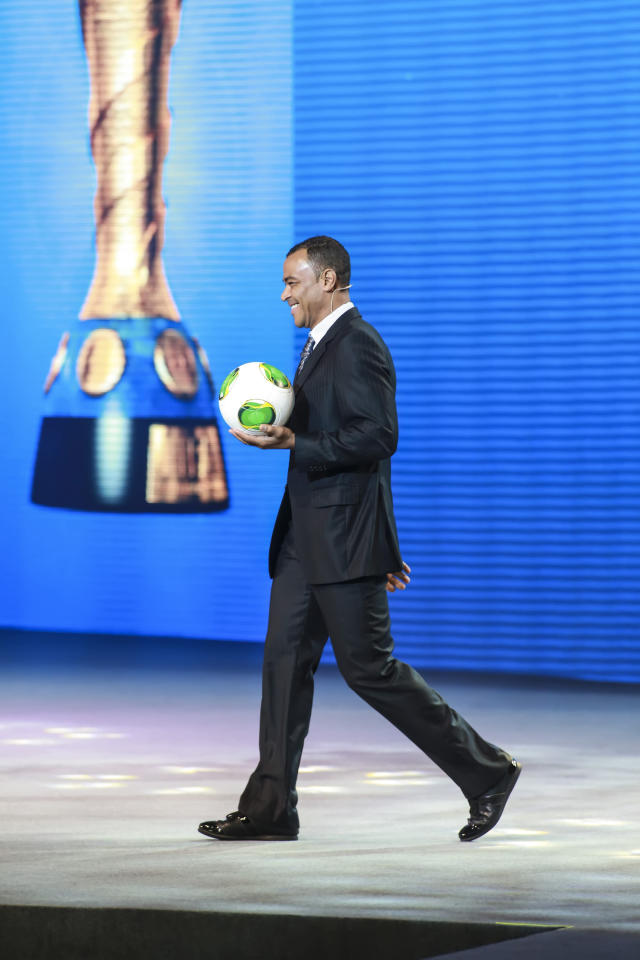 SAO PAULO, BRAZIL - DECEMBER 01: Cafu, Brazilian soccer player, presents the ball ?Cafusa? during the Draw for the FIFA Confederations Cup 2013 at Anhembi Convention Center on December 01, 2012 in Sao Paulo, Brazil. (Photo by Alexandre Schneider/LatinContent/Getty Images)