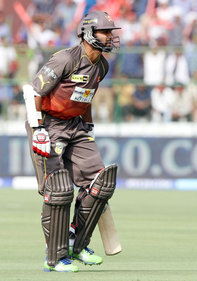 Sunrisers Hyderabad Player Shikhar Dhawan during match 36 of the Pepsi Indian Premier League ( IPL) 2013  between The Rajasthan Royals and the Sunrisers Hyderabad  held at the Sawai Mansingh Stadium in Jaipur on the 27th April 2013. (BCCI)