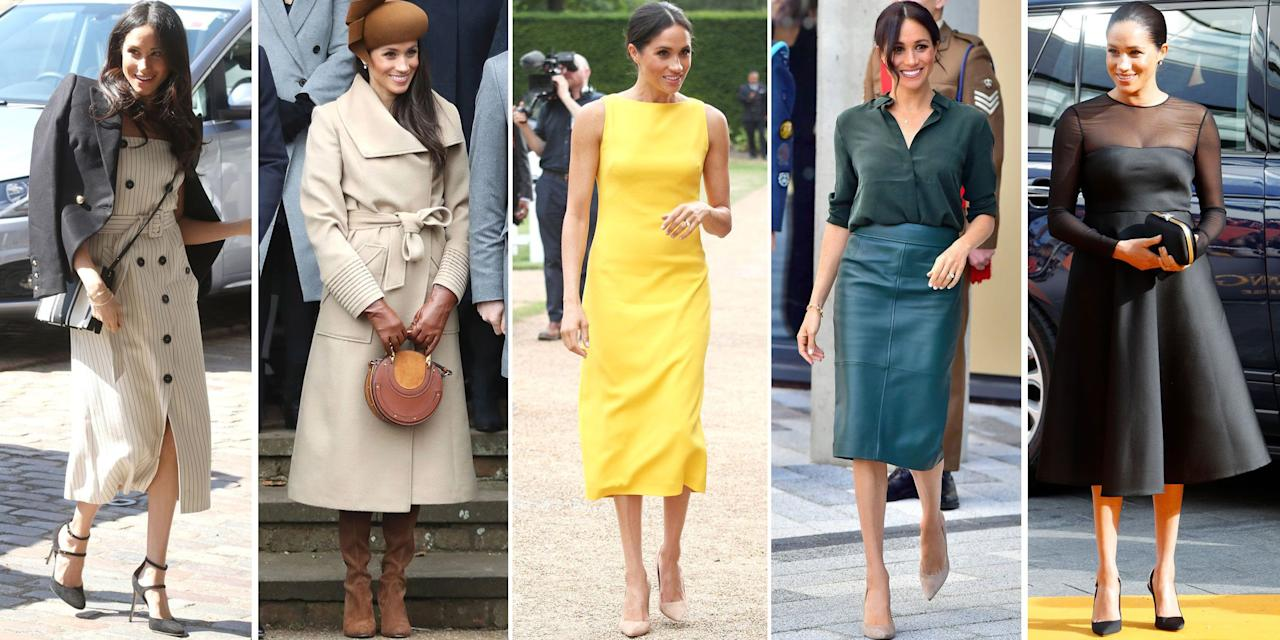 <p>Since becoming the Duchess of Sussex, Meghan Markle has ushered in a new wave of modernity and minimalism to the British royal family's style. Known for her monochromatic outfits, boat necklines, and even suits (no pun intended), Meghan has quickly become a style icon across the globe. The royal is known to frequent designers like Givenchy and Dior, while also mixing in more affordable finds from brands like Artizia and J.Crew too. With all eyes on the duchess, we're tracking all her best outfits and style since she first went public with Prince Harry in 2017.</p>