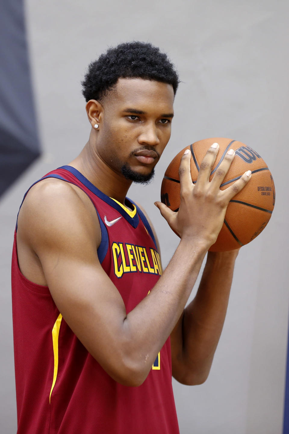 Cleveland Cavaliers' Evan Mobley poses for a portrait during the NBA basketball team's media day, Monday, Sept. 27, 2021, in Independence, Ohio. (AP Photo/Ron Schwane)