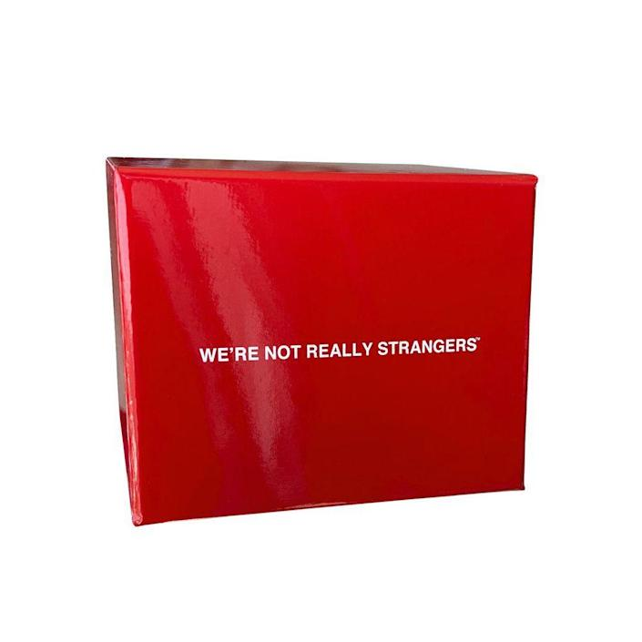 """<p><strong>We're Not Really Strangers </strong></p><p>amazon.com</p><p><strong>$25.00</strong></p><p><a href=""""https://www.amazon.com/dp/B092GM9NWH?tag=syn-yahoo-20&ascsubtag=%5Bartid%7C10051.g.23654253%5Bsrc%7Cyahoo-us"""" rel=""""nofollow noopener"""" target=""""_blank"""" data-ylk=""""slk:Shop Now"""" class=""""link rapid-noclick-resp"""">Shop Now</a></p><p>Consider this the sweet, introspective alternative to Cards Against Humanity. </p>"""