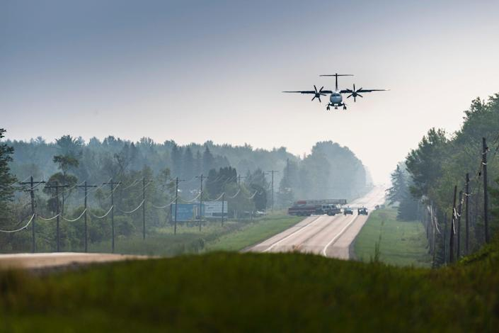 C-146A lands on highway in Michigan