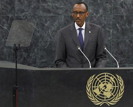 Rwanda's President Kagame addresses the 68th United Nations General Assembly at UN headquarters in New York