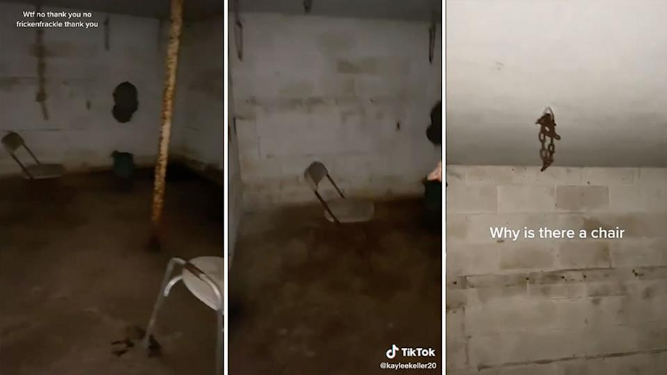 Stills from a TikTok videos show chairs and chains hanging from the ceiling of the hidden room.