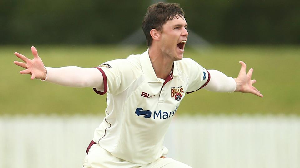 Queensland's Mitch Swepson will likely duke it out against NSW counterpart Nathan Lyon in the Sheffield Shield final. (Photo by Jason McCawley/Getty Images)