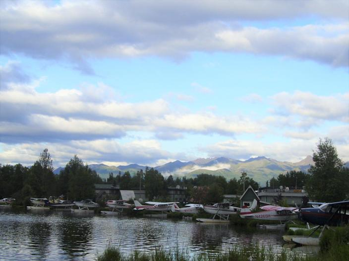 Watch the float planes come in for a landing on Lake Hood from the  Millennium Lakefront Anchorage.