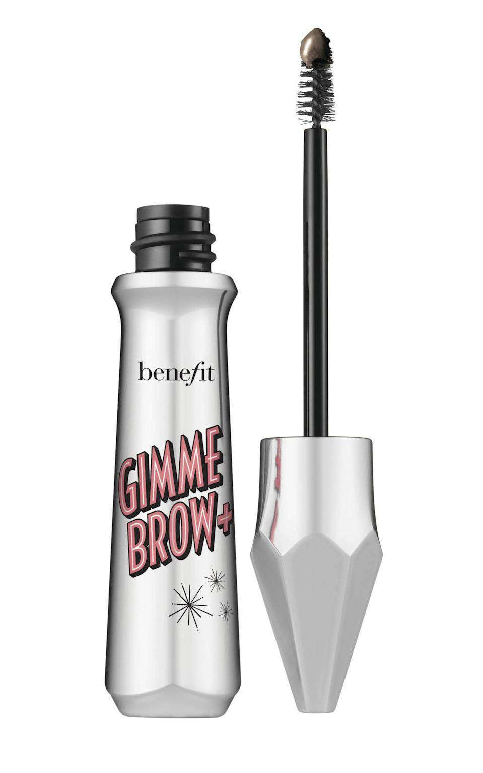 """<p>""""This brow gel is so quick and easy to use. I follow my natural shape and brush up to give the brows natural-looking fullness.""""</p> <p><strong>Buy It!</strong> Benefit Cosmetics Gimme Brow+, $24; <a href=""""https://ulta.ztk5.net/c/249354/164999/3037?subId1=PEOThe8BeautyProductsMirandaKerrCantLiveWithoutjfields1271StyGal12662760202104I&u=https%3A%2F%2Fwww.ulta.com%2Fgimme-brow-tinted-volumizing-eyebrow-gel%3FproductId%3DxlsImpprod14191015"""" rel=""""sponsored noopener"""" target=""""_blank"""" data-ylk=""""slk:ulta.com"""" class=""""link rapid-noclick-resp"""">ulta.com</a></p>"""