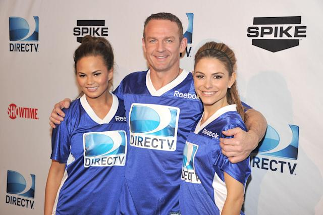 INDIANAPOLIS, IN - FEBRUARY 04: (L-R) Model Chrissy Teigen, former NFL player Merril Hoge, and actress Maria Menounos attend DIRECTV's Sixth Annual Celebrity Beach Bowl Game at Victory Field on February 4, 2012 in Indianapolis, Indiana. (Photo by Theo Wargo/Getty Images for DirecTV)