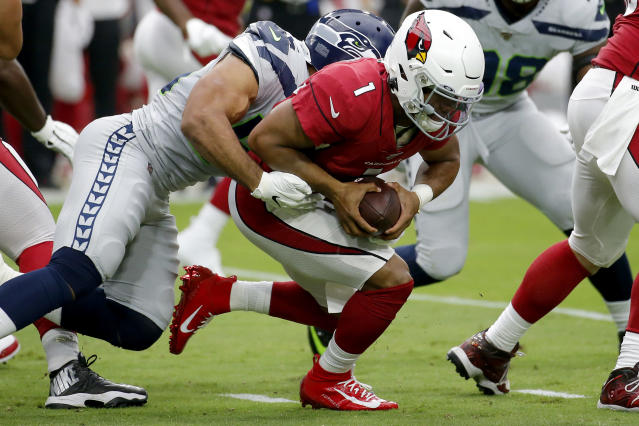 Arizona Cardinals quarterback Kyler Murray (1) is sacked by Seattle Seahawks linebacker Mychal Kendricks during the first half of an NFL football game, Sunday, Sept. 29, 2019, in Glendale, Ariz. (AP Photo/Rick Scuteri)