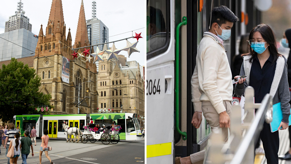 Victorian tram in busy intersection, people wearing masks leave tram in Melbourne.
