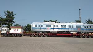 800th MOVIA metro car leaving Bombardier's state-of-the-art Savli production facility for New Delhi.