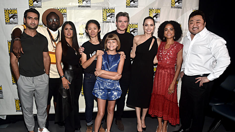 Marvel's latest big superhero team will be unveiled in November, with an A-list cast including Angelina Jolie, Kumail Nanjiani, Richard Madden and Kit Harington. Chloe Zhao is directing this one. (Credit: Alberto E. Rodriguez/Getty Images for Disney)