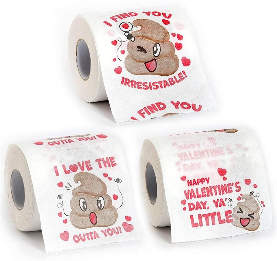 <p>Add a bit of humor and fun to the day with the <span>Valentine's Day Novelty Toilet Paper (3 rolls)</span> ($11).</p>