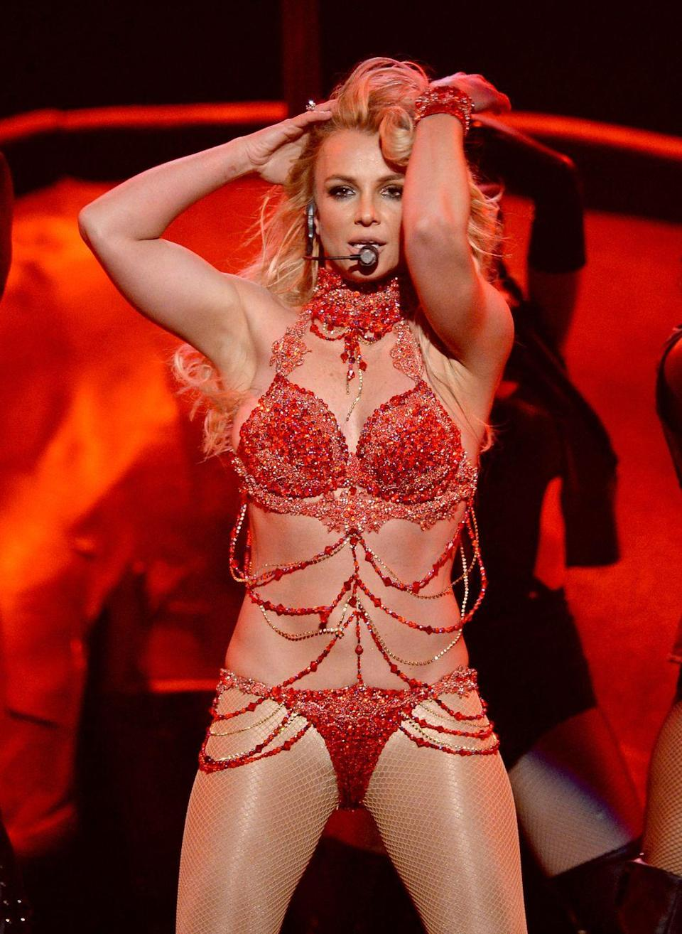 <p>Britney Spears performs at the 2016 Billboard Music Awards in Las Vegas, Nevada, on May 22, 2016.</p>