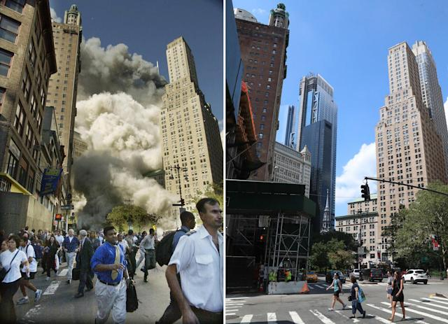 <p>Pedestrians on Park Row flee the area of the World Trade Center as the south tower collapses following the terrorist attack on Sept. 11, 2001, left; buildings have been demolished for residential housing now under construction on Park Row in New York City, Aug. 12, 2017. (Photos: Amy Sancetta/AP – Gordon Donovan/Yahoo News) </p>