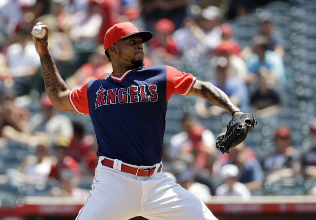 Los Angeles Angels starting pitcher Felix Pena throws to the Houston Astros during the first inning of a baseball game Sunday, Aug. 26, 2018, in Anaheim, Calif. (AP Photo/Marcio Jose Sanchez)