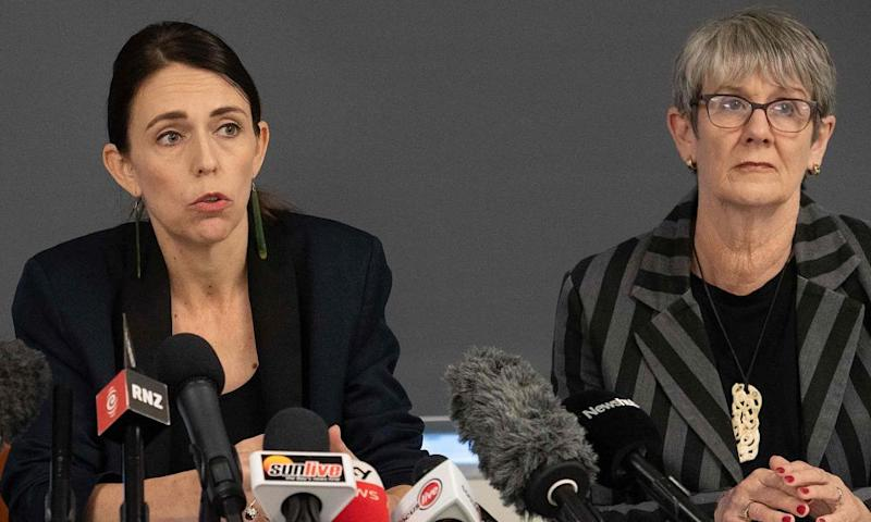 Whakatāne mayor Judy Turner (right) at a press conference with Jacinda Ardern.
