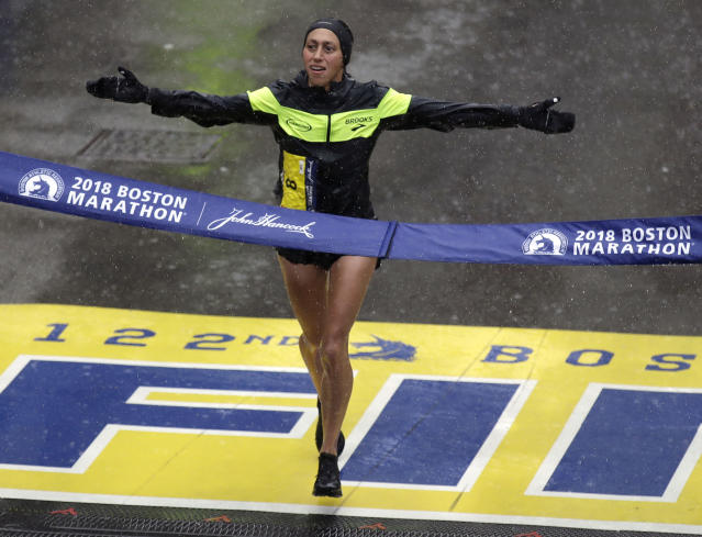 Desiree Linden, of Washington, Mich., wins the women's division of the 122nd Boston Marathon on Monday, April 16, 2018, in Boston. She is the first American woman to win the race since 1985. (AP Photo/Charles Krupa)