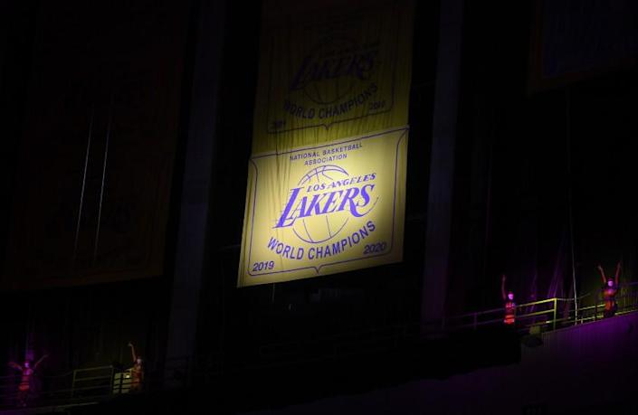 LOS ANGELES-CA-MAY 12, 2021:Unveiling of the Lakers championship banner at Staples Center.