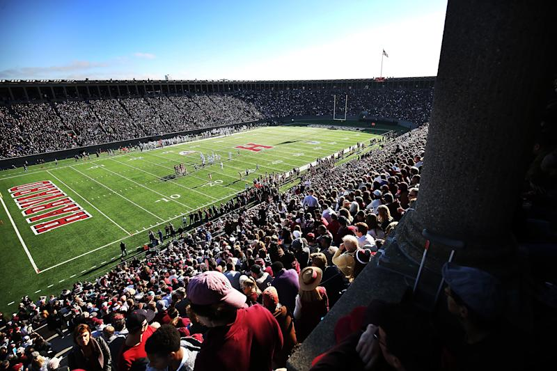 A Harvard-Yale football game at Harvard Stadium in 2016 — something that won't be seen this year. (Adam Glanzman/Getty Images)