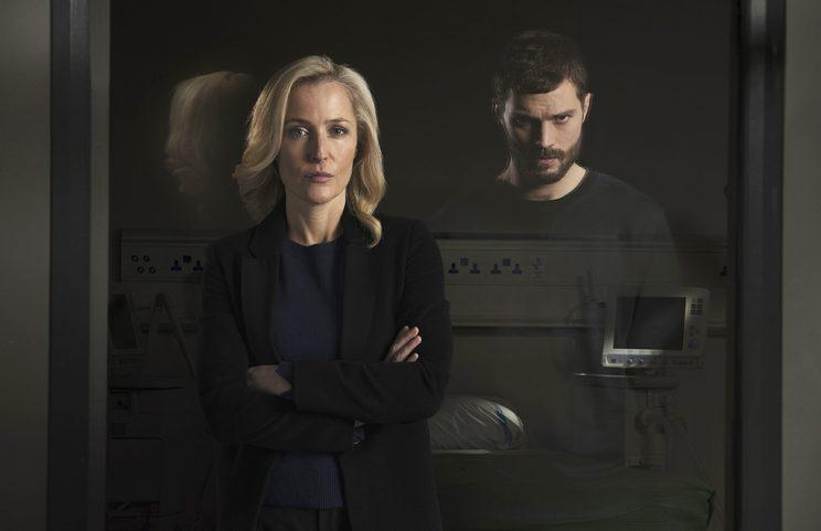Gillian Anderson as Stella Gibson and Jamie Dornan as Paul Spector in  The  Fall  67f0ebc9a0202