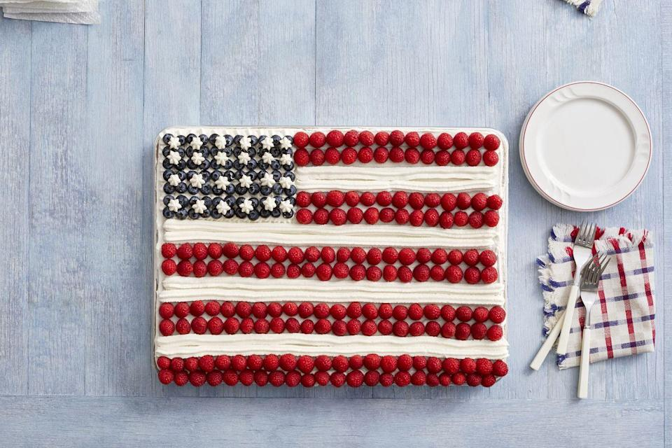 """<p>Ree loves Ina Garten's rich, buttery sheet cake that's transformed into an American flag. Make sure to take a picture of your masterpiece before everyone dives in!</p><p><strong><a href=""""https://www.thepioneerwoman.com/food-cooking/recipes/a11633/fourth-of-july/"""" rel=""""nofollow noopener"""" target=""""_blank"""" data-ylk=""""slk:Get the recipe."""" class=""""link rapid-noclick-resp"""">Get the recipe.</a></strong></p><p><strong><a class=""""link rapid-noclick-resp"""" href=""""https://go.redirectingat.com?id=74968X1596630&url=https%3A%2F%2Fwww.walmart.com%2Fip%2FThe-Pioneer-Woman-Spring-10-Piece-Baking-Prep-Set-Teal%2F269954471&sref=https%3A%2F%2Fwww.thepioneerwoman.com%2Ffood-cooking%2Fmeals-menus%2Fg32109085%2Ffourth-of-july-desserts%2F"""" rel=""""nofollow noopener"""" target=""""_blank"""" data-ylk=""""slk:SHOP BAKING TOOLS"""">SHOP BAKING TOOLS</a><br></strong></p>"""