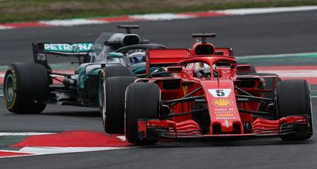 F1 Formula One - Formula One Test Session - Circuit de Barcelona-Catalunya, Montmelo, Spain - February 27, 2018. Sebastian Vettel of Ferrari and Valtteri Bottas of Mercedes during testing. Picture taken February 27, 2018. REUTERS/Albert Gea