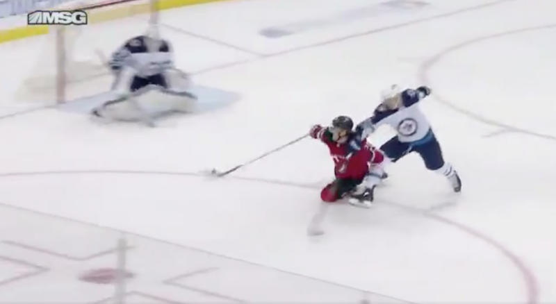 Blake Coleman scored one of the most ridiculous goals you'll ever see. (Twitter // @DevilsInsiders)