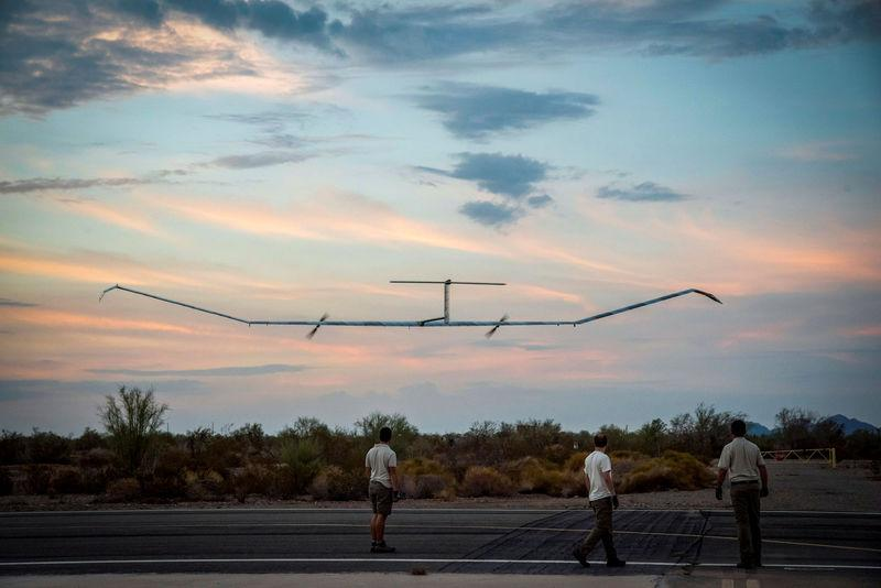 The Zephyr, a High Altitude Pseudo-Satellite (HAPS) UAS/UAV which runs on solar power, is launched in Arizona
