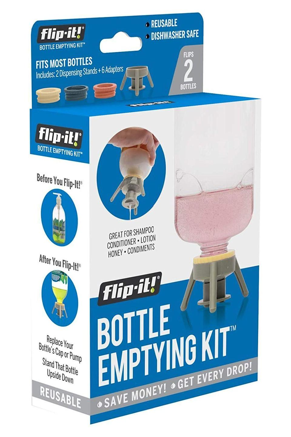 """<p><strong>Flip-It!</strong></p><p>amazon.com</p><p><strong>$13.99</strong></p><p><a href=""""https://www.amazon.com/dp/B079C4B8V8?tag=syn-yahoo-20&ascsubtag=%5Bartid%7C10049.g.33904719%5Bsrc%7Cyahoo-us"""" rel=""""nofollow noopener"""" target=""""_blank"""" data-ylk=""""slk:shop"""" class=""""link rapid-noclick-resp"""">shop</a></p><p>Throwing away the last bit of your expensive <a href=""""https://www.cosmopolitan.com/style-beauty/beauty/g2149/best-shampoo-conditioner/"""" rel=""""nofollow noopener"""" target=""""_blank"""" data-ylk=""""slk:shampoo and conditioner"""" class=""""link rapid-noclick-resp"""">shampoo and conditioner</a> is *heartbreaking.* While flipping your products over is the oldest trick in the book, if your bottle has a pump dispenser or a weirdly small lid, get these lid props to easily store your products upside down.</p>"""