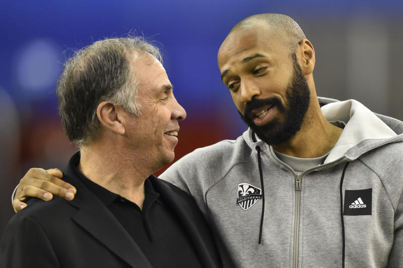 New England Revolution coach Bruce Arena (left) renewed acquaintances with Montreal Impact manager Thierry Henry during the opening weekend of the MLS season. (Minas Panagiotakis/Getty)
