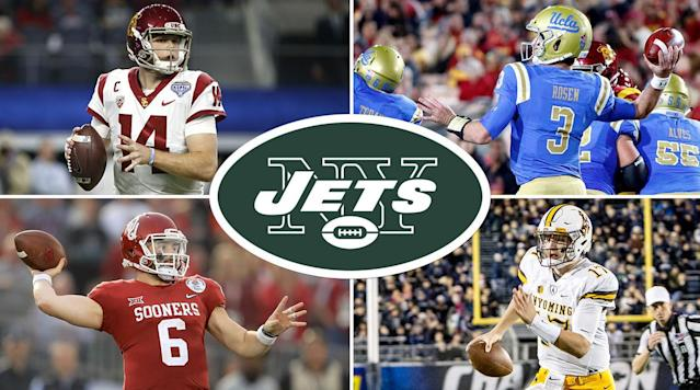 """<p>The Jets suffered a big loss this week when <a href=""""https://www.si.com/nfl/2018/03/16/kirk-cousins-minnesota-vikings-free-agent-contract"""" rel=""""nofollow noopener"""" target=""""_blank"""" data-ylk=""""slk:Kirk Cousins signed with the Vikings"""" class=""""link rapid-noclick-resp"""">Kirk Cousins signed with the Vikings</a>. But the good news? They'd been preparing to take this blow since January.</p><p>It played out this week, first with a slew of free-agent signings, then with the big bang on Saturday: an aggressive swing by GM Mike Maccagnan to send the Colts the sixth, 37th, and 49th picks in this year's draft, plus the Jets' 2019 second-rounder, for the third overall pick, which will be spent on the team's next franchise quarterback.</p><p>So Saturday was a significant day in franchise history, and an era-defining one for both Maccagnan and coach Todd Bowles. If they get the right quarterback, there's a good chance they'll be in East Rutherford for a long time. If they get the wrong one, it's likely both guys will be fired. Here's what's clear: This offseason was always going to be about finding <i>the</i> quarterback for the Jets. Period.</p><p>With that backdrop, the team's brass was taking no chances. Plan A, back in May and June, was to be in position to pluck from a ballyhooed group of college quarterbacks, and owner Woody Johnson made it clear, before leaving for his ambassadorship in the summer, that he was all-in on the idea.</p><p><a href=""""https://www.si.com/nfl/2018/03/07/nfl-draft-top-prospects-big-board-top-100"""" rel=""""nofollow noopener"""" target=""""_blank"""" data-ylk=""""slk:• NFL DRAFT BIG BOARD, VOL. 2: After the combine, four quarterbacks ranked in the top eight."""" class=""""link rapid-noclick-resp""""><strong>• NFL DRAFT BIG BOARD, VOL. 2: After the combine, four quarterbacks ranked in the top eight.</strong></a></p><p>As such, at ownership's directive, the Jets live-scouted just about every UCLA (Josh Rosen), USC (Sam Darnold), Wyoming (Josh Allen), Oklahoma (Baker Mayfield), Lou"""