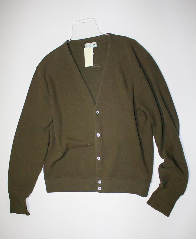 After Kurt Cobain's death, his wife Courtney Love gave a large quantity of his possessions to fans that held a candle light vigil outside his house -- among those items was this sweater. The 2014 Rock and Roll Hall of Fame Inductee exhibit opens May 31, 2014 in Cleveland, Ohio.