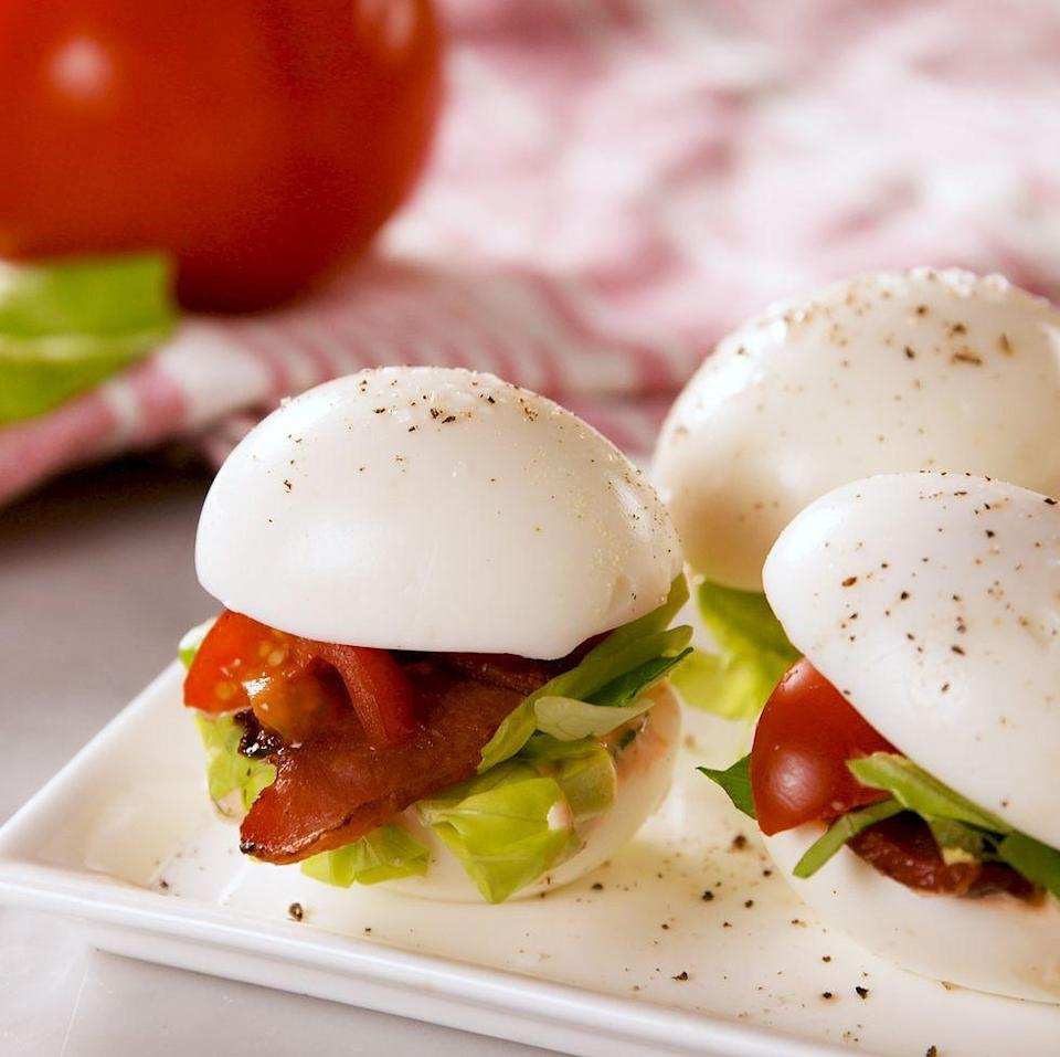 """<p>These egglets are great because they can be assembled quickly in the morning for a protein-packed, post-lunch snack! It's like a <a href=""""https://www.delish.com/uk/cooking/recipes/a33400332/blt-burgers-recipe/"""" rel=""""nofollow noopener"""" target=""""_blank"""" data-ylk=""""slk:BLT"""" class=""""link rapid-noclick-resp"""">BLT</a> and <a href=""""https://www.delish.com/uk/cooking/recipes/a30805681/bunless-bacon-egg-and-cheese-recipe/"""" rel=""""nofollow noopener"""" target=""""_blank"""" data-ylk=""""slk:bunless egg breakfast sandwich"""" class=""""link rapid-noclick-resp"""">bunless egg breakfast sandwich</a> all in one, and we are here for it. 🙌 </p><p>Get the <a href=""""https://www.delish.com/uk/cooking/a34435205/blt-egglets-recipe/"""" rel=""""nofollow noopener"""" target=""""_blank"""" data-ylk=""""slk:BLT Egglets"""" class=""""link rapid-noclick-resp"""">BLT Egglets</a> recipe.</p>"""