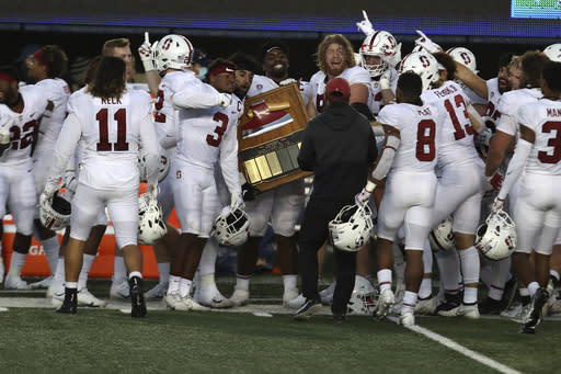 Stanford celebrates after a 24-23 win over California in an NCAA college football game Friday, Nov. 27, 2020, in Berkeley, Calif. (AP Photo/Jed Jacobsohn)