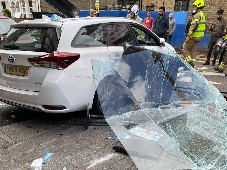 Authorities said a car crashed into a building in Walthamstow on Thursday (@JRHackney_Tory / Twitter)